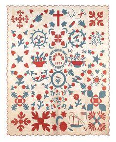 Appliqué friendship quilt, dated inscri : Lot 221 Old Quilts, Vintage Quilts, Amish Quilts, Vintage Textiles, Vintage Sewing, Applique Quilts, Quilt Stitching, Date, Patriotic Quilts