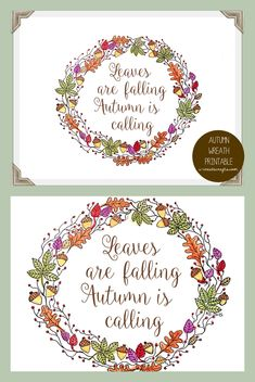 Autumn Wreath Printable by U Create
