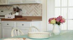 DIY Cutting Edge Stencils Faux Brick Wall - White Lace Cottage