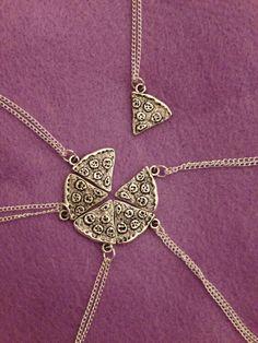 1 Pizza Necklace Silver Pendant Best Friends by BettyBonesCo, $8.00