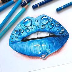 best lips drawing, anime drawings, flower drawing of techniques, great examples of drawing tutorial. Cool Art Drawings, Pencil Art Drawings, Realistic Drawings, Art Drawings Sketches, Colorful Drawings, Pencil Sketching, Drawings With Colored Pencils, Unique Drawings, Horse Drawings