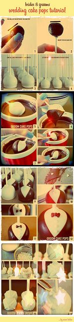 Tutorial for making Bride & Groom Cake Pops by niner bakes, via Flickr