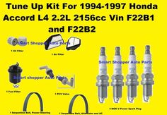 1994-1997 Honda Accord Tune Up Kit Spark Plug Air Oil Fuel Filter Serpentin Belt