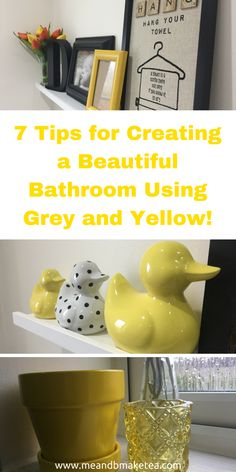 7 Tips for Creating a Beautiful Bathroom Using Grey and Yellow - my favourite colour scheme and palette right now! Take a look at the fun accessories I bought to brighten this dark room!