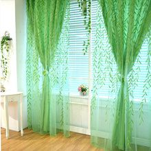 Willow Leaf Lime Green Country Oriental Asia Best Sheer Curtains -USD $49.99