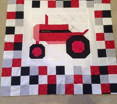 Tractor quilt I really love this Tractor Quilt, Farm Quilt, Tractor Room, Barn Quilt Patterns, Paper Piecing Patterns, Baby Boy Quilts, Girls Quilts, Panel Quilts, Quilt Blocks