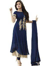 Picture of Splendorous Navy Blue Designer Salwar Kameez Designer Anarkali Dresses, Pakistani Dresses, Indian Dresses, Indian Outfits, Designer Dresses, Indian Attire, Indian Clothes, Indian Wear, Churidar