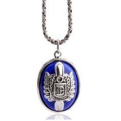 Haoshiguang Suck Blood Ghost Vampire Diaries Damon's Signet 925 Sterling Silver Thai Silver Pendant Necklace Chain-blue Lapis Stone HaoShiGuang. $349.00. Design:Classic,fashion,romantic. Package:with a beautiful gift box.. Color:As picture shown. It's a retro style necklace.. 925 Sterling Silver Thai Silver