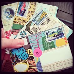 """stephdart: """"I've been busy with other projects this past week, but took a little time this morning to work on some mail art. Felt good! """""""