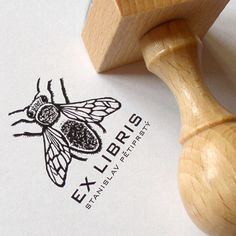 Bee: personalised rubber stamp (EX LIBRIS) - design21 - Stamps