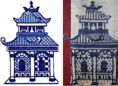 Ravelry: Willow Ware pattern by Lisa Grossman Chinese Pagoda, Willow Pattern, Knitting Socks, Knit Socks, Fabric Art, Chinese Art, Pattern Wallpaper, Chinoiserie, Handmade Crafts