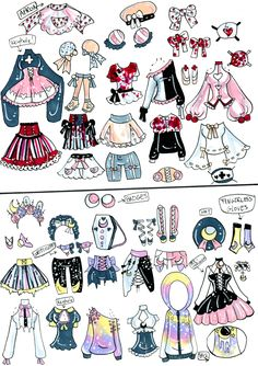 Custom Mix and Match outfits 4 by Guppie-Vibes on DeviantArt Source by anime Drawing Anime Clothes, Manga Clothes, Art Inspiration Drawing, Character Design Inspiration, Casa Anime, Clothing Sketches, Dibujos Cute, Drawing Reference Poses, Drawing Tips
