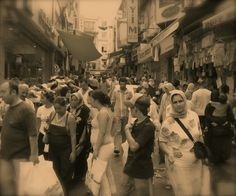 Crowded streets in Eminönü district ISTANBUL