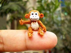 Micro Miniature Monkey - Thread Art Crochet Tiny Stuffed Animals - Made to Orde. Micro Miniature Monkey – Thread Art Crochet Tiny Stuffed Animals – Made to Order ภเгคк Crochet Sock Monkeys, Crochet Animals, Miniature Monkey, Tiny Monkey, Art Du Fil, Thread Art, Tiny Dolls, Crochet Dolls, Crochet Patterns