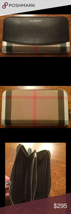 Authentic Burberry Horseferry Zip Around Wallet Authentic Burberry Marston Horseferry Check Zip Around Wallet.  Rarely used.  No visible wear.  4 bill slots, 12 credit card slots, 1 zippered interior change slot.  Excellent condition.  Pet and smoke free home.  Dust bag included! Burberry Bags Wallets