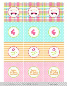 Printable Party Dots  Surfer Girl Birthday by PetitePartyStudio, $9.00  Love the plaid!
