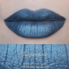 Serpentine Liquid Lipstick Matte Attack Liquid Lipstick ($14) ❤ liked on Polyvore featuring beauty products, makeup, lip makeup, lipstick, lips, black matte lipstick, metallic lipstick, matte finish lipstick, vegan lipstick and lips makeup
