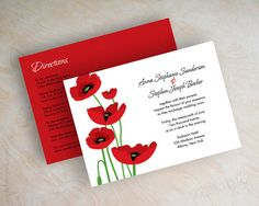 Poppy wedding invitations, poppy flower wedding stationery, red and black invitation, poppy stationery, poppy invites, free shipping, Aurora
