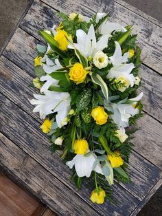 Lily and rose single ended spray Funeral Floral Arrangements, Flower Arrangements, Funeral Sprays, Funeral Tributes, Cemetery Flowers, Funeral Flowers, Florists, Flower Decorations, Memorial Day