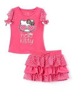 Look at this #zulilyfind! Fuchsia Hello Kitty Top & Tiered Skirt - Toddler & Girls by  #zulilyfinds