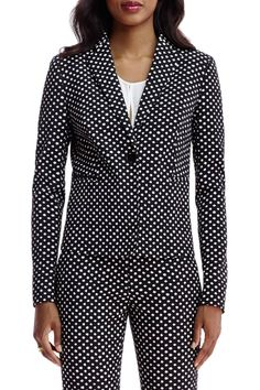 """A fresh polka dot brings whimsy to this modern, single-button blazer in a heavy matte silk with subtle ribbing. Structured with front seams, slit no-button cuffs and slit pockets.A medium weight cotton and synthetic blend knit with slight stretch.    ?Measures:60cm / 23 1/8"""" from highest point of shoulder   Jennie Blazer  by Diane von Furstenberg. Clothing - Jackets, Coats & Blazers - Jackets - Blazers Canada"""