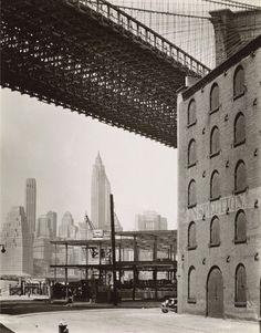 Brooklyn Bridge, Water and Dock Streets, looking southwest, Brooklyn - 20x200, Berenice Abbott