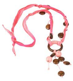 Flamingo Trail Silk Ribbon Necklace