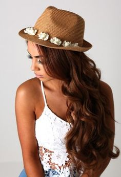 Sommer Tan Straw Effect Trilby Hat