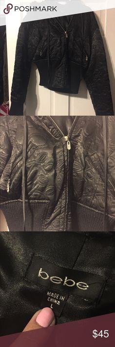 Bebe black jacket Bebe black jacket. Size large. Worn only a few times. bebe Jackets & Coats Puffers