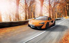 Download wallpapers McLaren 570S, 4k, road, 2018 cars, autumn, motion blur, McLaren