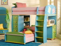 [Bedroom] : Awesome Design Bedroom Contemporary For Kids With Loft Bed Also Green Drawer Desk Plus Computer And Table Lamp Bookshelves Pink Bed Foam Mattress Blue Rug Laminate Flooring