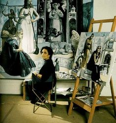 """""""Dame Paula Rego, portuguese painter (Lisboa Lives at London), in her studio Photography c. Artistic Space, Artist Inspiration, Artist At Work, Famous Artists, Painting, Pictures, Art History, Space Art, Female Artists"""