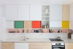 Plywood AND colour - be still my beating heart. I salute you Dries Otten of Belgium as kitchen colour blocking king! Rotterdam Kitchen by D Otten | Yellowtrace