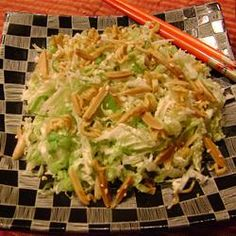 Napa Cabbage Salad with Ramen noodles, seasme seeds, almonds, green onions. I want to try! from Allrecipes.com