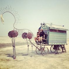 Really odd dream-like piece. Peace Love Happiness, Peace And Love, Africa Burn, Burning Man 2014, Gypsy Rose, Horse Carriage, Outdoor Art, Land Art, Man Photo