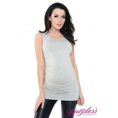 Vest Top 5071 Light Gray Melange Very soft and stretchy material fits all types of figures. Ruching on both sides creates lots of space for growing bump and you can wear it also after the pregnancy. Perfect for warm summer days or can be worn with a cardigan during colder days.