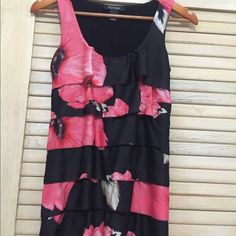 Cute WHBM Floral Print Sleeveless Blouse WHBM bright pink floral print on black blouse. Solid black back. White House Black Market Tops Tank Tops