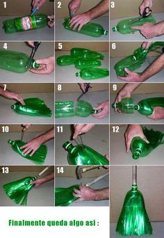 How to make a broom recycling plastic bottles! DIY.