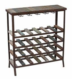 24 Bottle Iron and Wood Wine Rack