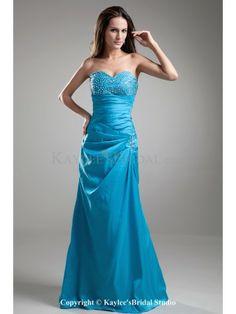 Taffeta Sweetheart Floor Length A-Line Sequins Prom Dress
