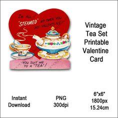 Vintage Tea Set Valentine Card Victorian by DistinctlyDigital Victorian Tea Sets, Tea Sets Vintage, Victorian Valentines, Valentine Images, Vintage Images, Art Images, Kettle, Tea Party, Tea Cups