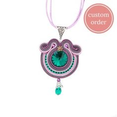 Green-lavender magical soutache necklace #soutache #soutachejewelry #soutachenecklace #swarovski #emerald #lavender #purple #handmade #handmadejewelry