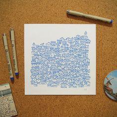 """Ilustração """"Vilinha"""" da coleção de ilustrações """"Cidades Azuis"""" por Gabriel Dyonisio."""