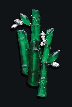 Jadeite and diamond bamboo broach.