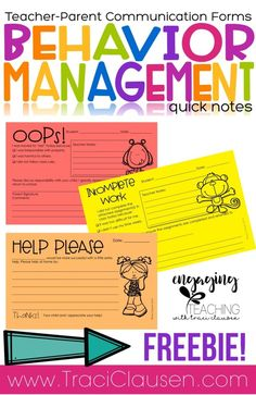Quick notes have helped me communicate quickly with parents about student behavior and needs. So simple but effective! Classroom behavior management made EASY! These FREE simple tips and parent correspondence practices help the day flow a little smoother! Behavior Plans, Classroom Behavior Management, Student Behavior, Behaviour Management, Behavior Charts, Classroom Behaviour, Notes To Parents, Parents As Teachers, Parent Communication Forms