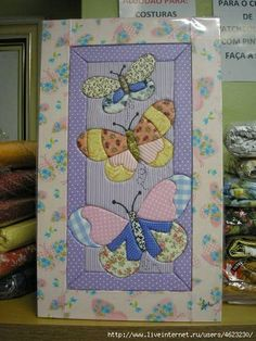 Fabric Art, Fabric Crafts, Sewing Crafts, Baby Crafts, Fun Crafts, Butterfly Quilt, Quilt Patterns, Embroidery Patterns, Vintage Embroidery