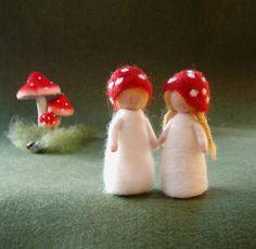 MUSHROOMCHILDREN Elsa Beskow and Waldorf inspired  Needle felted wool Doll soft sculpture