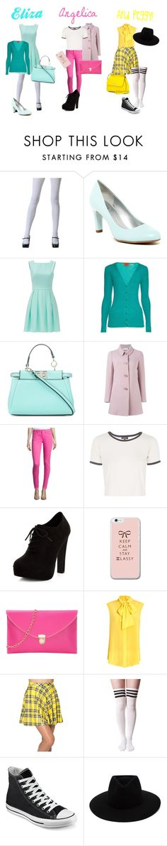 """""""Modern Schuyler Sisters"""" by person-of-many-names ❤ liked on Polyvore featuring Bandolino, Kate Spade, Missoni, Fendi, RED Valentino, Topshop, New Look, Moschino, Converse and rag & bone"""