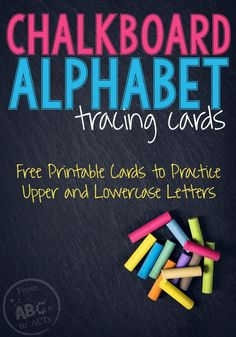 Gearing up for back to school? These chalkboard alphabet tracing cards are perfect for practicing letter formation in preschool and kindergarten! Alphabet Tracing, Alphabet Cards, Alphabet For Kids, Alphabet Activities, Language Activities, Preschool Alphabet, Preschool Literacy, Early Literacy, Writing Activities