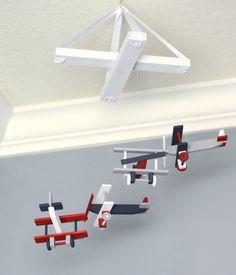 Airplane Nursery Mobile Nursery Decor - Biplane - Navy White Red Gray